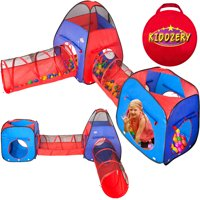 Kiddzery 4pc Kids Play tent Pop Up Ball Pit - 2 Tents + 2 Crawl Tunnels - Children Toy Tent for Boys & Girls, Toddlers & Baby, Large Playhouse For Indoor & Outdoor With Carrying Case, Great Gift Idea