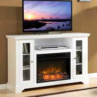 """Masterflame Queenston Fireplace for TVs up to 55"""" in White"""