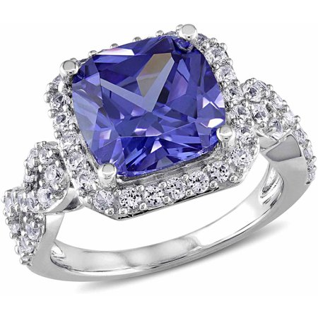 - 6-3/4 Carat T.G.W. Created Tanzanite and Created White Sapphire Sterling Silver Halo Cocktail Ring