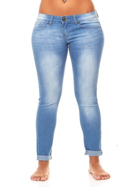 VIP Jeans for women | Skinny with Butt Lift Stylish Ankle Cuff and Sand-Blast Wash | Slim Fit Stretchy jeans | Junior sizes