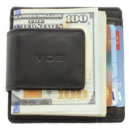 RFID Men's Leather Magnetic Front Pocket Money Clip Wallet