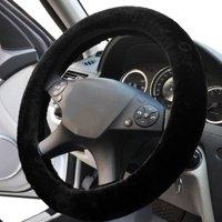 Faux Sheepskin Steering Wheel Cover - Zone Tech Plush Stretch On Vehicle Steering Wheel Cover Black Classic Car Wheel Protector