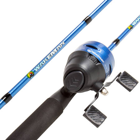 Fishing Pole – 64-Inch Fiberglass and Stainless Steel Rod and Pre-Spooled Reel Combo for Lake, Pond and Stream Casting by Wakeman Outdoors (Blue) Combo Kids Fishing Rod