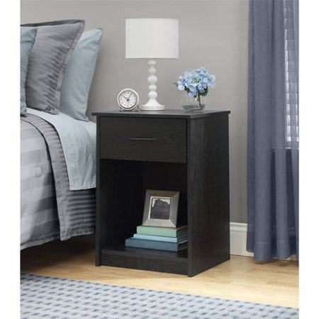 Espresso Round End Table (Mainstays 1-Drawer Nightstand / End Table, Ebony)
