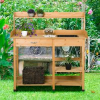 Potting Table Planter Bench Outdoor Indoor Workbench Station Garden Planting Wood Shelves Natural