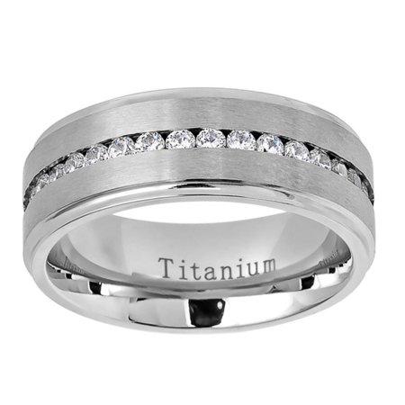 Men Women Titanium Wedding Band Ring 8mm Brushed Center Shiny Step Edge CZ Eternity Ring (8mm Step Edge Wedding Band)