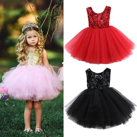 Pageant Toddelr Kids Baby Girls Dress Tutu Party Dress Gown Formal Bridesmaid Dresses 0-5T - Girls Party Dresses
