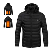 ce9f8715b436 Men s USB Charging Electric Heated Coat Soft Lightweight Hooded Jacket  Thermal for Outdoor Hiking Riding Camping