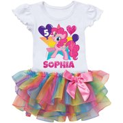 Personalized My Little Pony Pinkie Pie Birthday Rainbow Tutu Tee