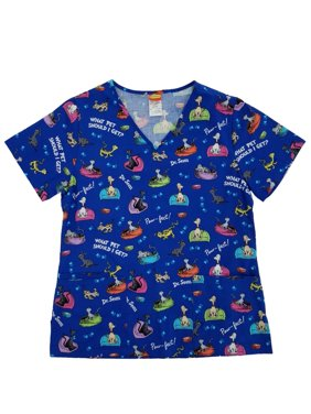 Dr. Seuss What Pet Should I Get Womens Medical Smock Nurse Scrubs Shirt Top