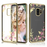 Case For Samsung Galaxy S9 / S9 Plus / S8 / S8 Plus / S7 / S7 Edge, Tekcoo [Tflower] Retro Flower Pattern Slim Transparent Sparkle Glitter TPU Bumper Case Cover
