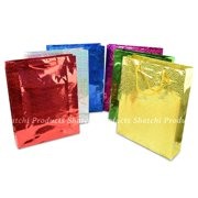 d6bc17444d 2 Assorted Large Holographic Gift Bags for Wine Bottle Christmas Present
