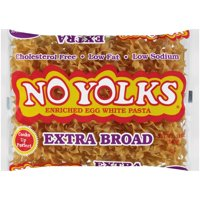 (4 pack) No Yolks Extra Broad Egg White Noodles, 12-Ounce Bag