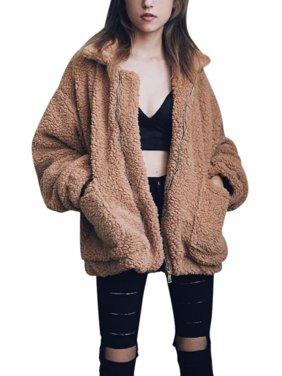 JLONG 1Pcs Womens Winter Warm Slim Plush Loose Coat Outwear Jacket Sweater Parka Overcoat
