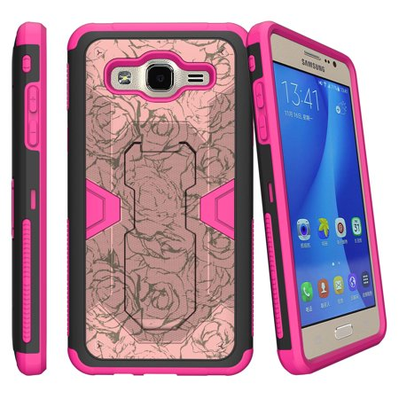 Samsung Galaxy J3 Case | Express Prime Case | Amp Prime Case Pink Silicone Hybrid Case [Max Defense] Case w/ Holster + Kickstand - Floral