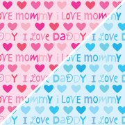 """David Textiles Anti-Pill Fleece I Love Mommy & Daddy Fabric By The Yard 60"""" Wide"""