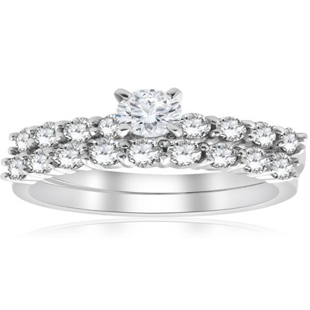 1 1/3 ct TDW Round Solitaire Diamond Engagement Ring Wedding Set 14k White Gold
