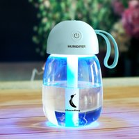 I Trending All Season Humidifier #iTH004 – USB, portable, blue. Built-in LED light displays 7 colors. Ultrasonic, cool moisture air away from dryness, 0.4 lb weight, 300 ml water capacity