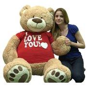 5864e6f9357 I Love You Giant 5 Foot Teddy Bear Soft 60 Inch Wears I Love You T