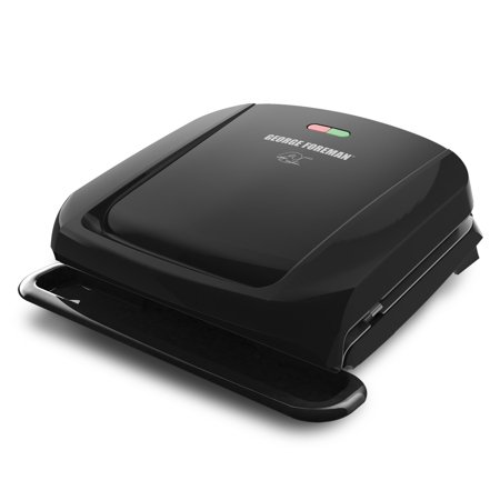 George Foreman 4-Serving Removable Plate Electric Grill and Panini Press, Black, (Best George Foreman Indoor Outdoor Grill)