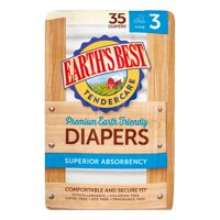 Earth's Best Premium TenderCare Diapers (Choose Size and Count) Size 3, 35 Diapers