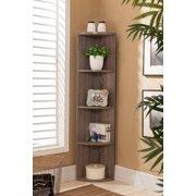 Dax Gray Wood Contemporary 5 Tier Shelf Corner Bookcase Storage Home & Office Organizer Display Unit