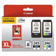 Canon PG-245XL/CL-246XL Ink & Paper Combo Pack, Black & Tri-Color