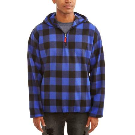 Men's 1/4 Zip Buffalo Plaid Print Microfleece Jacket, Up to Size - Printed Silk Coat