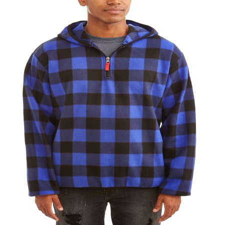 Plaid Snowboarding Jacket - Men's 1/4 Zip Buffalo Plaid Print Microfleece Jacket, Up to Size 5XL