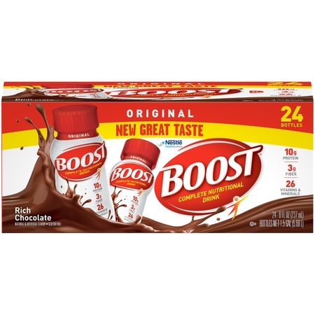 Boost Original Complete Nutritional Drink, Rich Chocolate, 8 fl oz Bottle, 24 Count