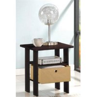LRL End Table Bedroom Night Stand with Bin Drawer, Espresso & Brown - 17.5 x 15.5 x 15.5 in.
