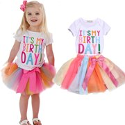 c8c3eaa724 Toddler Kids Baby Girls Birthday Outfits Clothes Short Sleeve T-shirt Tops+Rainbow  Tutu
