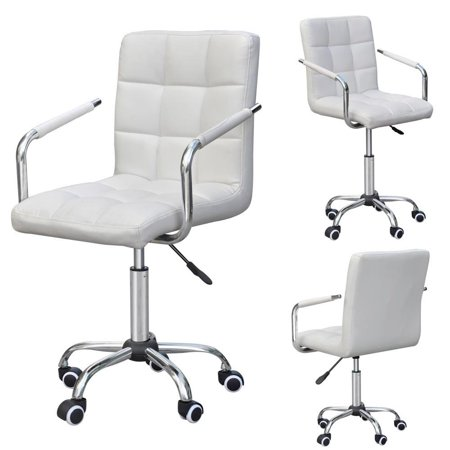 Yaheetech Rolling White Modern Ergonomic Swivel Leather Office Chairs Computer Chair Executive Home Office Furniture On Wheels