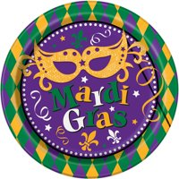 "9"" Masquerade Mardi Gras Party Plates, 8ct"