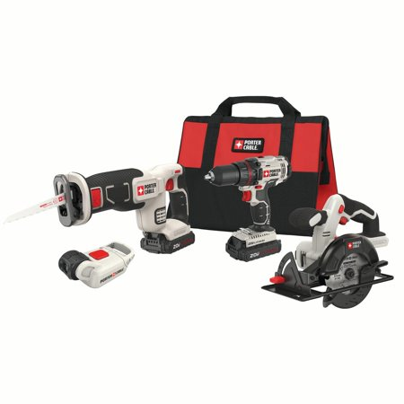 Power Tool Combo Kits (PORTER CABLE 20-Volt Max Lithium-Ion 4 Tool Combo Kit, PCCK616L4 )