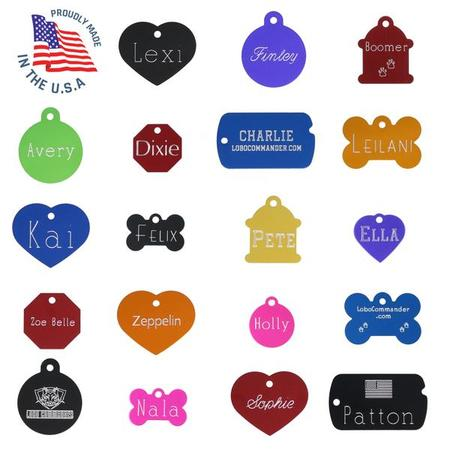 Custom Engraved Pet ID Tags For Your Dog Or Cat, Personalized Front And Back, Up To Four Lines Of Text Per Side, Many Shapes And Colors To Choose From, Small And Large Sizes Suitable For All Pets!](Customizable Dog Tags)