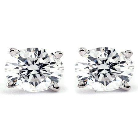 1/2Ct Round Brilliant Cut Diamond Stud Earrings in 14K White or Yellow Gold ()