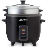 Aroma 6 Cup Non-Stick Black Rice Cooker & Food Steamer, 3 Piece