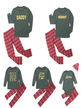 Christmas Family Matching Sleepwear Letters Print Pajamas Set Couples Pajamas