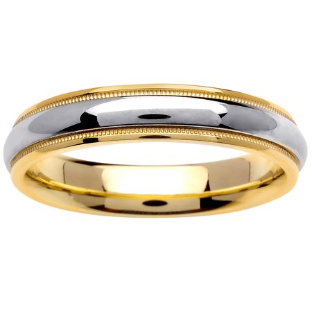 14K Two Tone Gold Center Runway Modern Comfort Fit Women's Wedding Band (4.5mm) (Modern Two Tone Wedding Band)