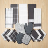 Mainstays Terry and Flat Kitchen Towel, Dish Cloth, Flour Sack, Oven Mitt and Pot Holder Set, 20 Piece, Multiple Colors