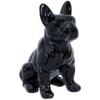 Elements Six Inch Tall Black Ceramic Bull Dog Figurine