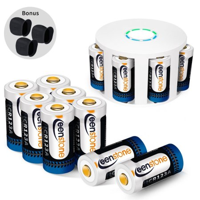 [12pcs]Arlo rechargeable security camera batteries and charger , 3.7V 700 mAh RCR123A Lithium-Ion Rechargeable Batteries for Arlo Security Camera (VMC3030/3200/3230/3330/3430/3530), UL UN Certified