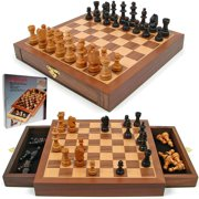 Chess Set - Inlaid Walnut style Magnetized Wood with Staunton Wood Chessmen by Hey! Play!