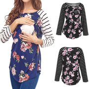 bb28c01a93165 US Maternity Clothes Nursing Top Breastfeeding T-Shirt For Floral Pregnant  Women