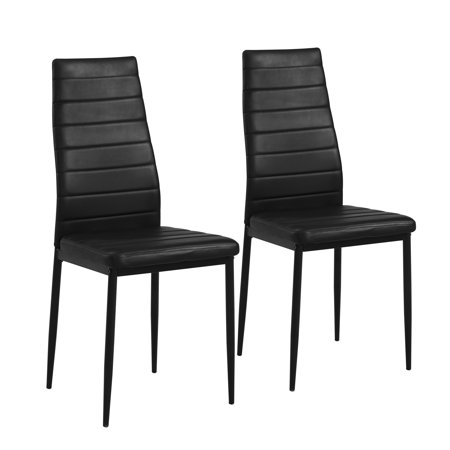 Mainstays Parsons Dining Chair, Set of 2, Black Faux (Parsons Leather Chairs)