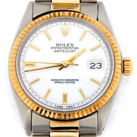Pre-Owned Mens Rolex Two-Tone 14K/SS Datejust White 1601 (SKU 2149812BCMT)