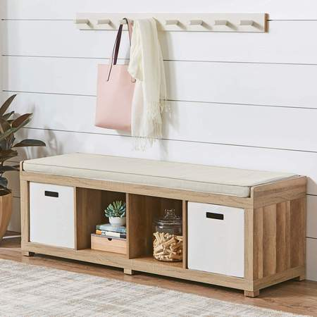 High Point Furniture Office Bench - Better Homes and Gardens 4-Cube Organizer Storage Bench, Multiple Finishes