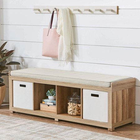 Better Homes And Gardens 4 Cube Organizer Storage Bench Multiple Finishes Walmart Com