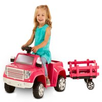 Kid Trax 6V Heavy Hauling Truck with Trailer Powered Ride On, Pink